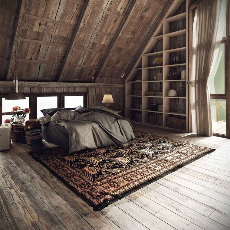 diseno estilo rustico dormitorio alfombra preciosa ideas