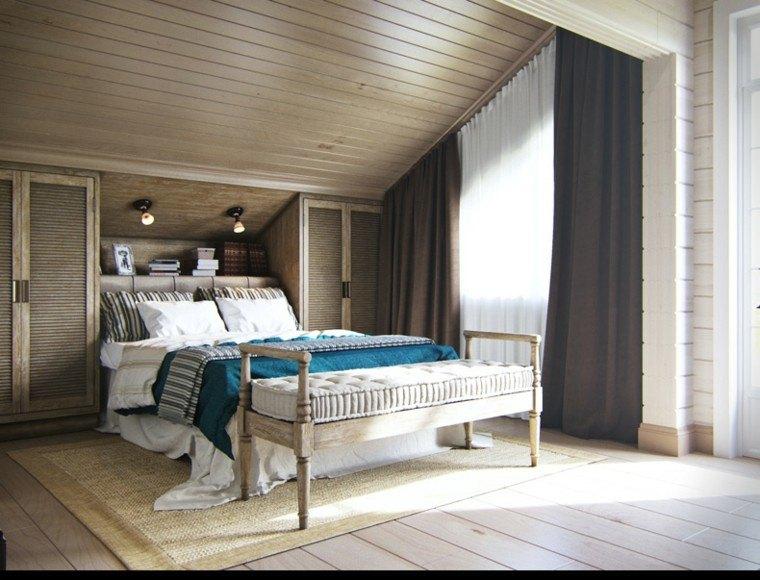 diseno estilo rustico dormitorio toques azul ropa cama ideas