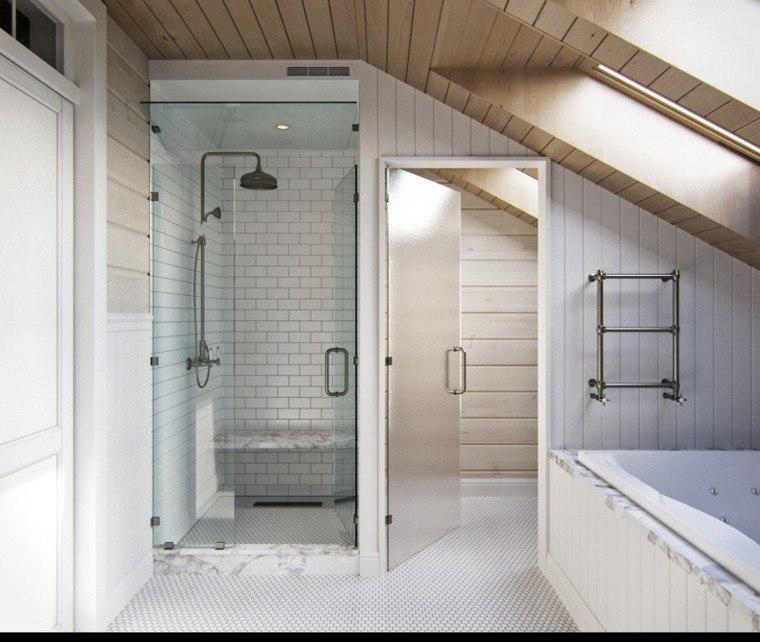 diseno estilo rustico losas blancas ducha mampara cristal bano ideas