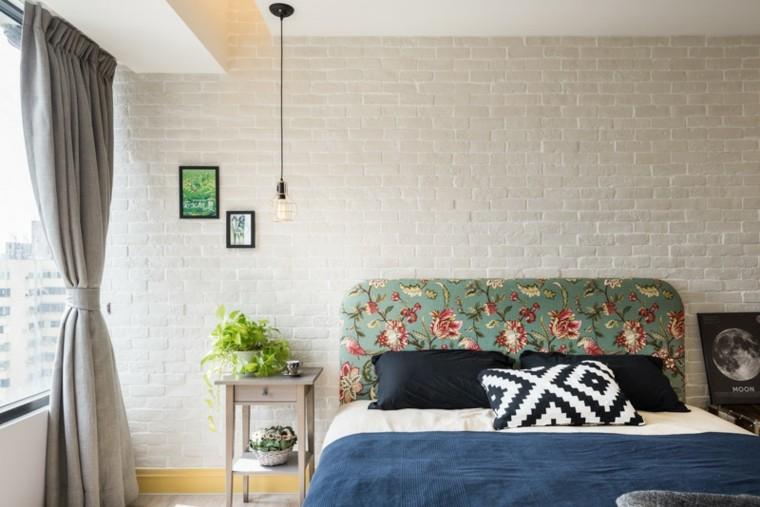 diseno estilo rustico respaldo cama motivos florales ideas