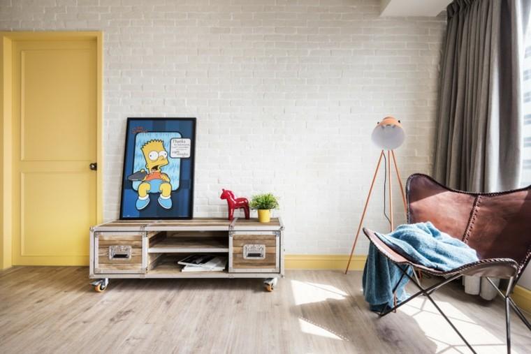diseno estilo rustico salon silla cuero mueble madera ideas