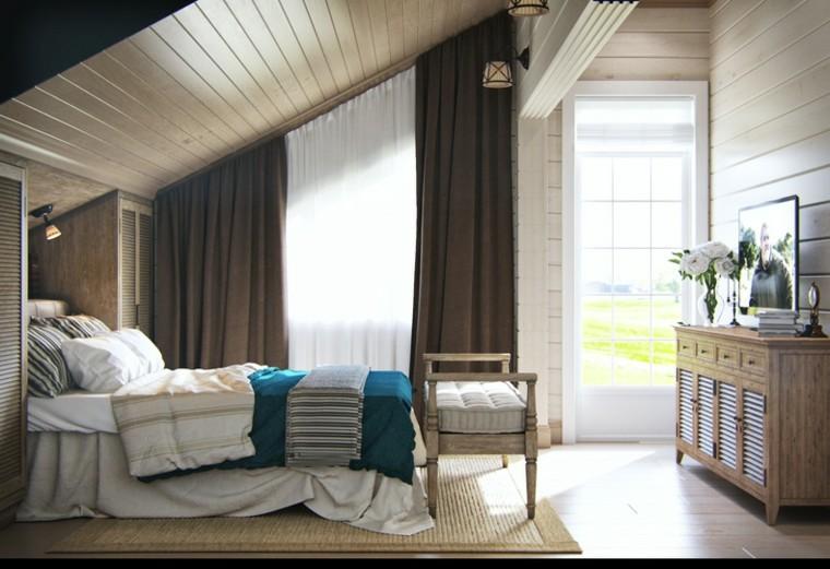 diseno estilo rustico taburete delante cama dormitorio ideas