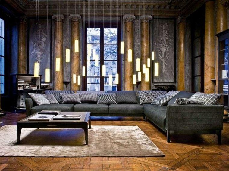 dorado columnas estilo madera sala