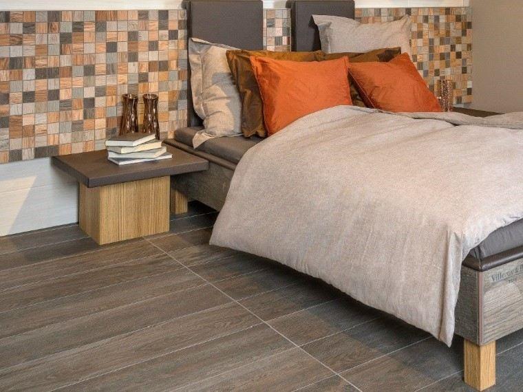 dormitorio azulejos imitan madera mosaico pared ideas