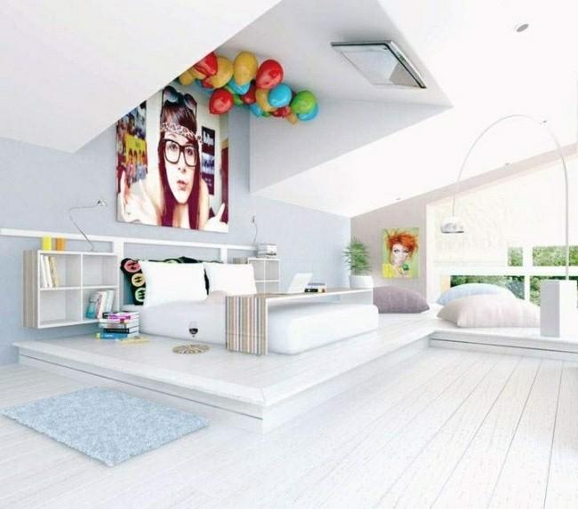 dormitorio blanco globos colores techo