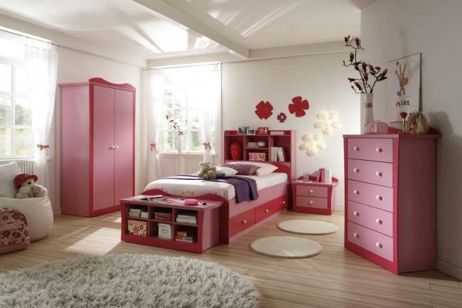 dormitorio chica muebles color rosa