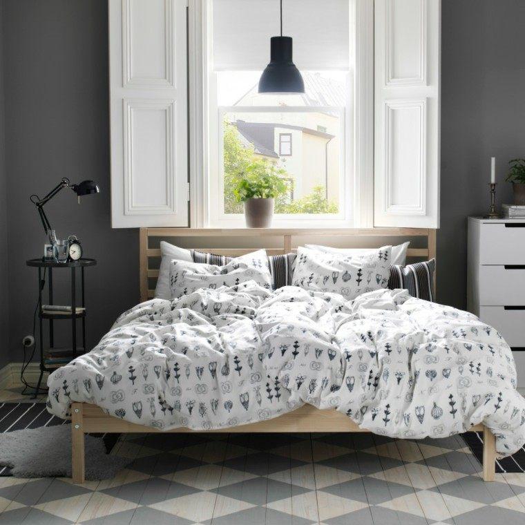 dormitorio ikea pared color gris