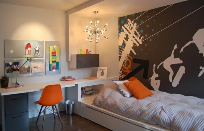 dormitorio juvenil silla naranja