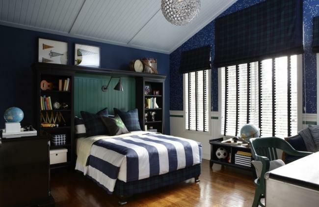 dormitorio juvenil color azul oscuro