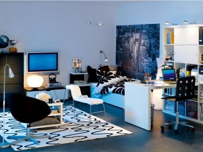 dormitorio estilo moderno color azul