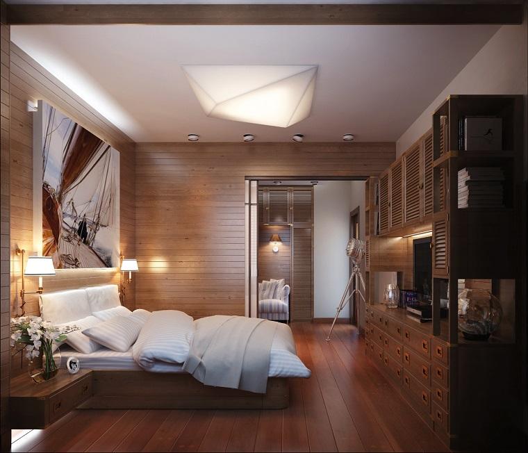 dormitorio moderno revestimiento madera