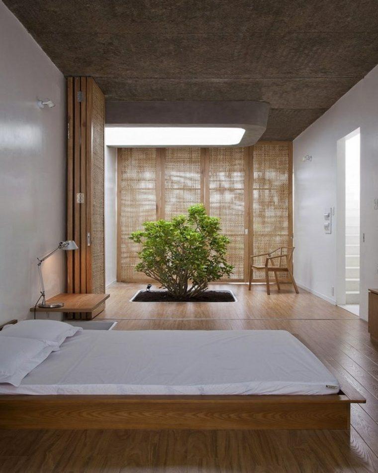 dormitorio moderno jardin interior cemento