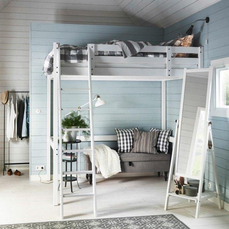 dormitorio pared madera color celeste