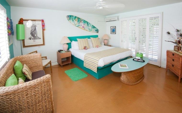 tabla de surf dormitorio sofa rattan surf pared preciosa ideas