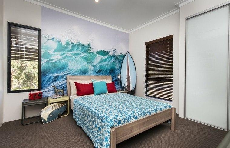 tabla de surf dormitorio esquina papel pared estampa oceano ideas