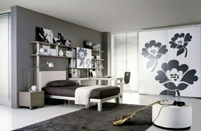 dormitorio juvenil pared color gris
