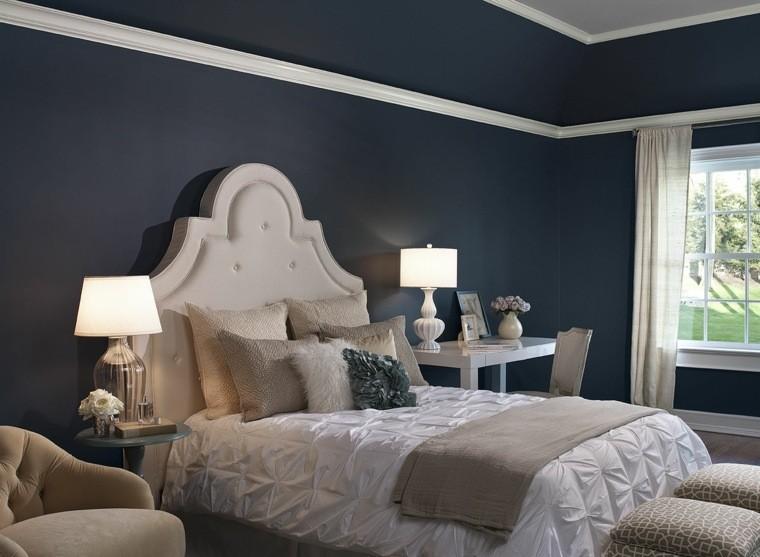 dormitorio adultos pared color añil