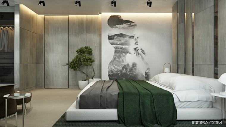 dormitorio colcha verde oscuro