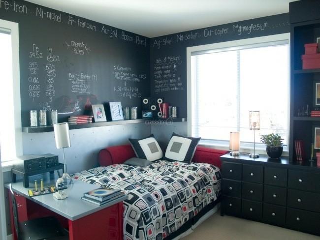 dormitorio diseño pared pintura pizarra