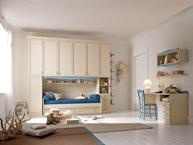 habitaciones infantiles muebles color beige