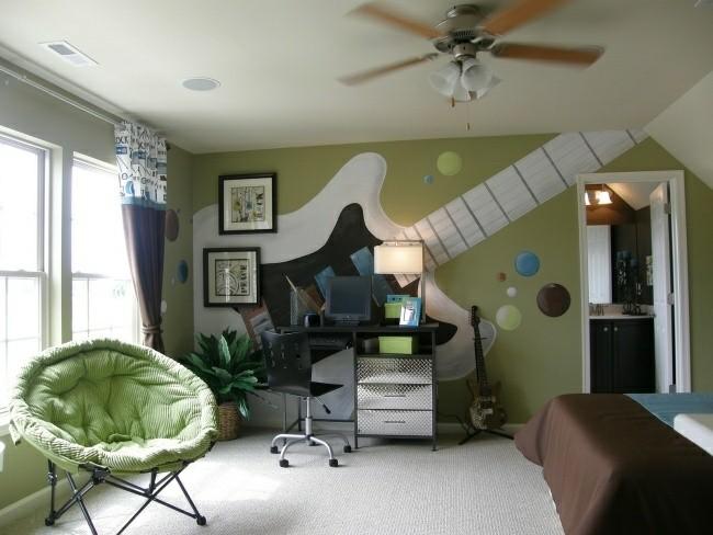 dormitorio juvenil pared color verde