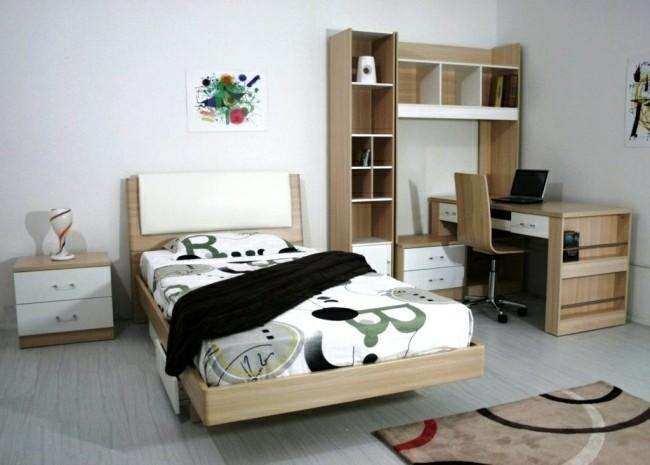 dormitorio juvenil colores neutros madera