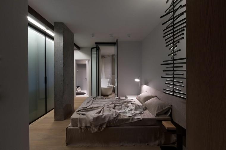 dormitorio estilo moderno columna cemento