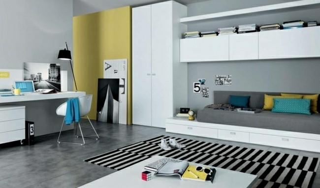 dormitorio moderno alfombra rayas negras