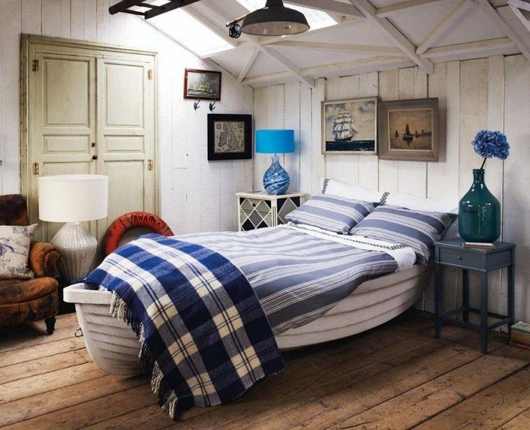 dormitorio rustico cama barca madera