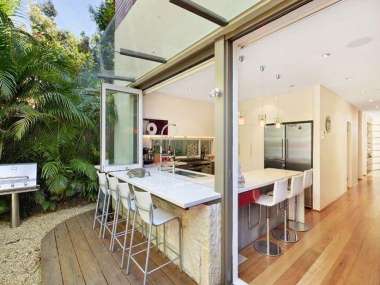 el refugio perfecto verano cocina exterior barra blanca ideas