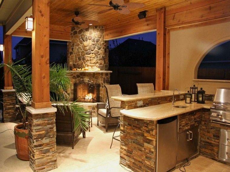 el refugio perfecto verano cocina exterior chimena piedra ideas