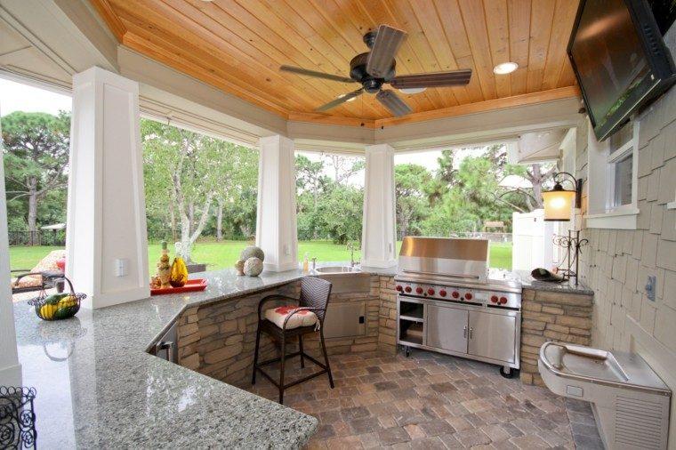el refugio perfecto verano cocina exterior encimeras granito ideas