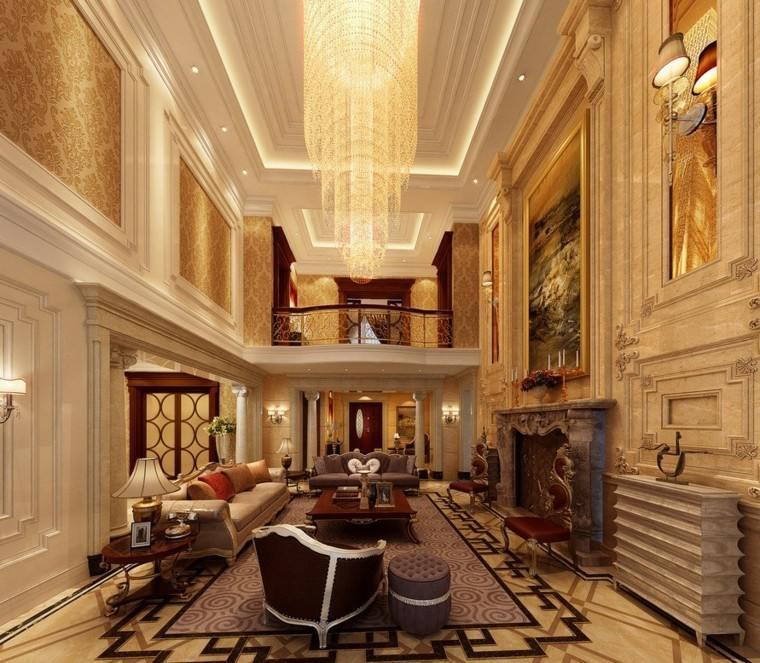 elegante alto techo sillones cortinas