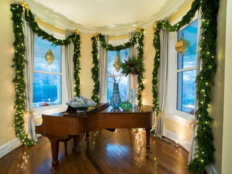 elegante interior piano plantas ramas