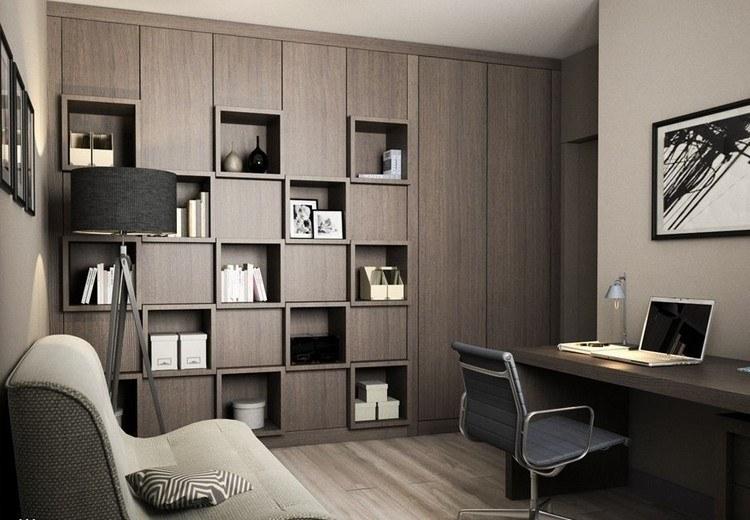 elegante marrones criterio sofa libros