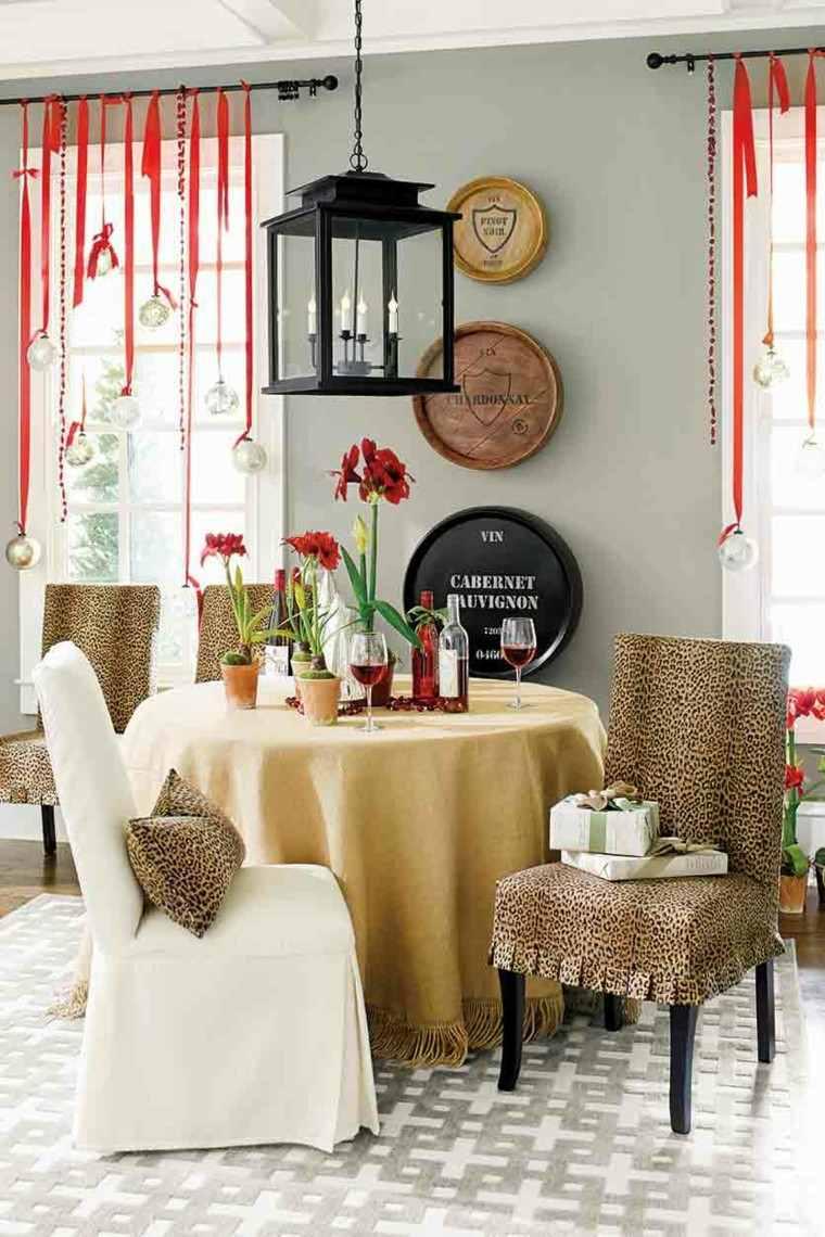 elegante mesa interiores colgados velas