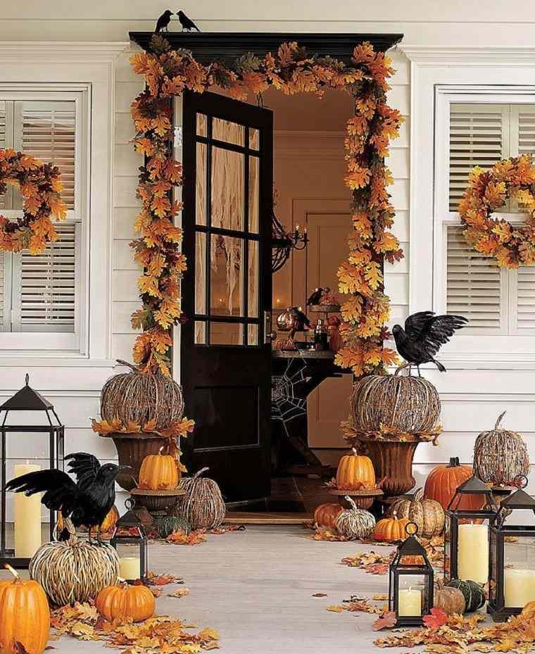 entrada casa decorada hojas secas otonales preciosa ideas