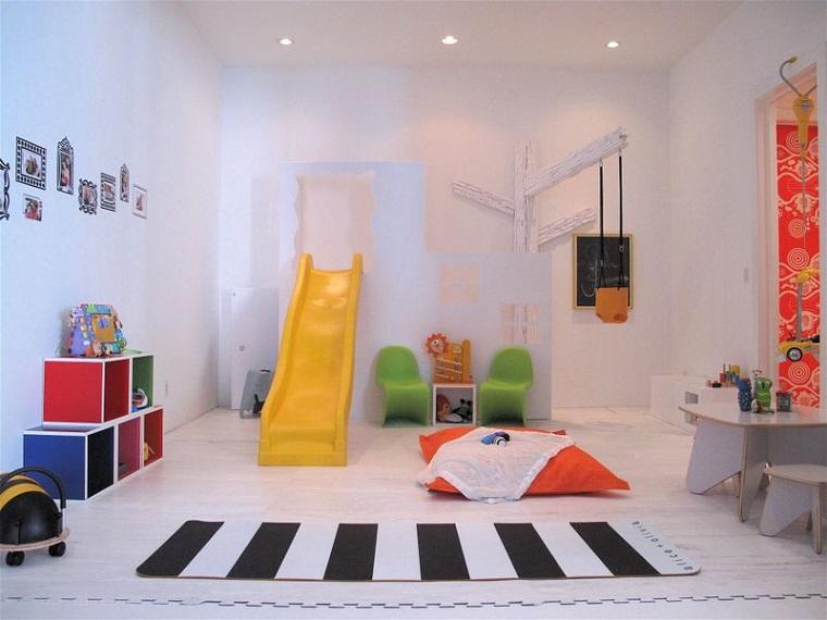 ninos habitacion columpio amarillo ideas alfombra rayas juegos para