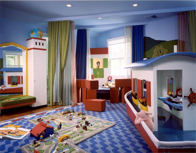 ninos habitacion cortinas colores suelo paredes azules  ideas