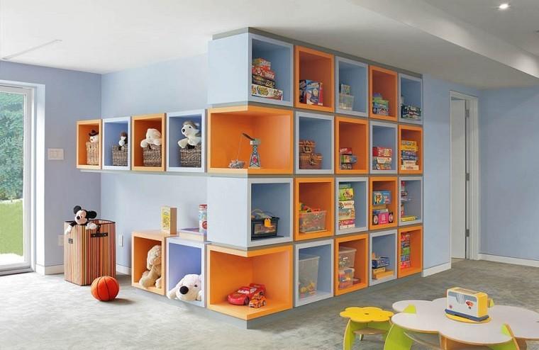 ninos habitacion estanterias azul naranja juguetes ideas