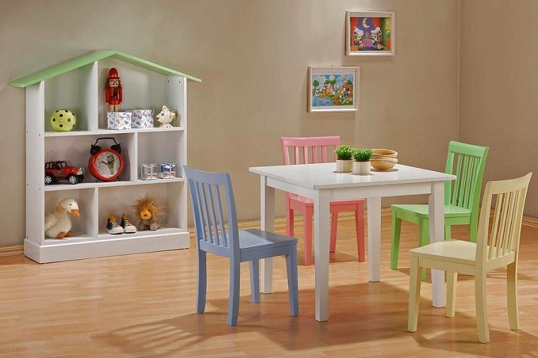 entretenimiento ninos habitacion estanterias casa mesa sillas colores ideas