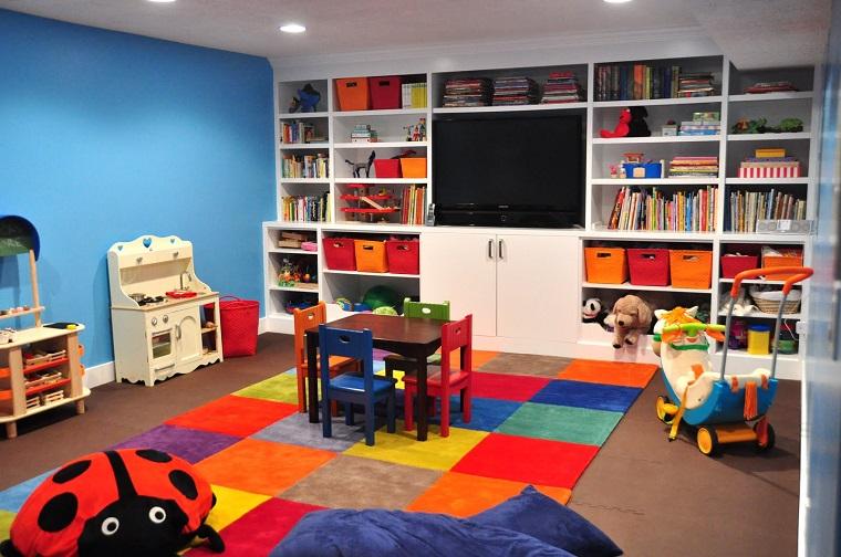 ninos habitacion juegos alfombra colores estanterias ideas