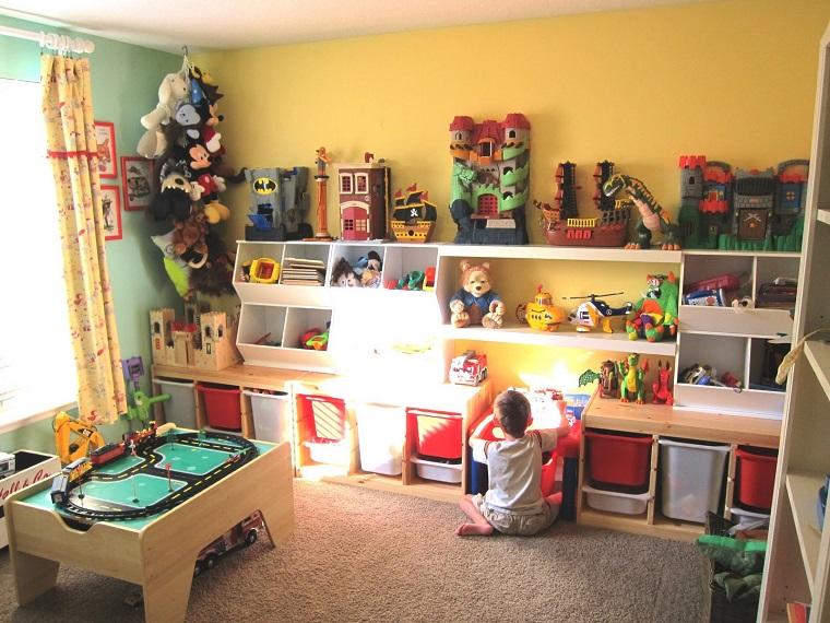 ninos habitacion juegos estanterias juguetes ideas