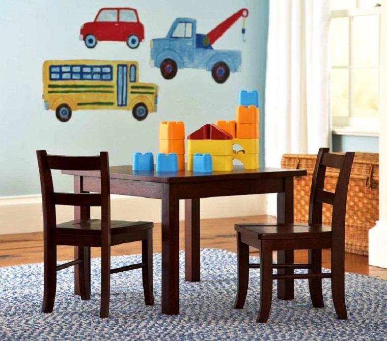 ninos habitacion mesa sillas madera ideas