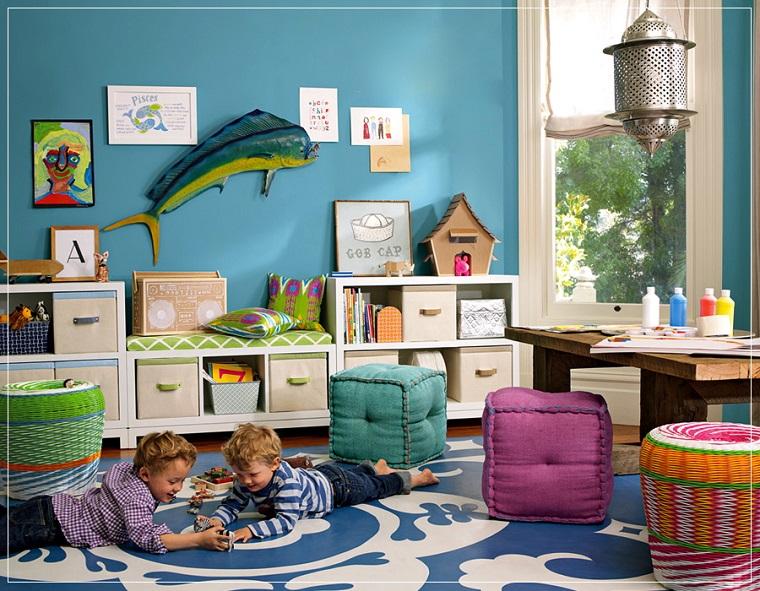 ninos habitacion pez pared azul chicos gemelos ideas