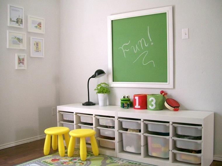 entretenimiento ninos habitacion pizarra sillas amarillas ideas