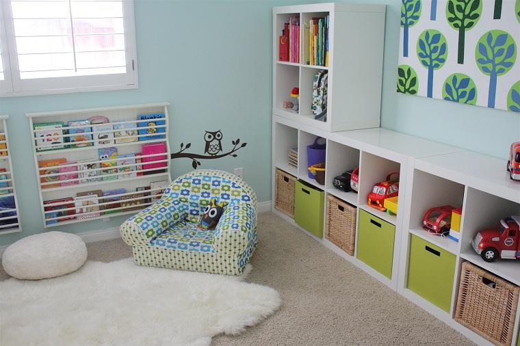 entretenimiento ninos habitacion sillon alfombra blanca ideas