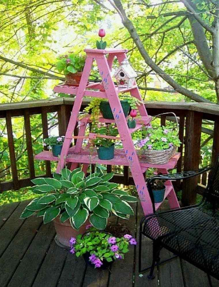 escalera rosada creativa patio balcon