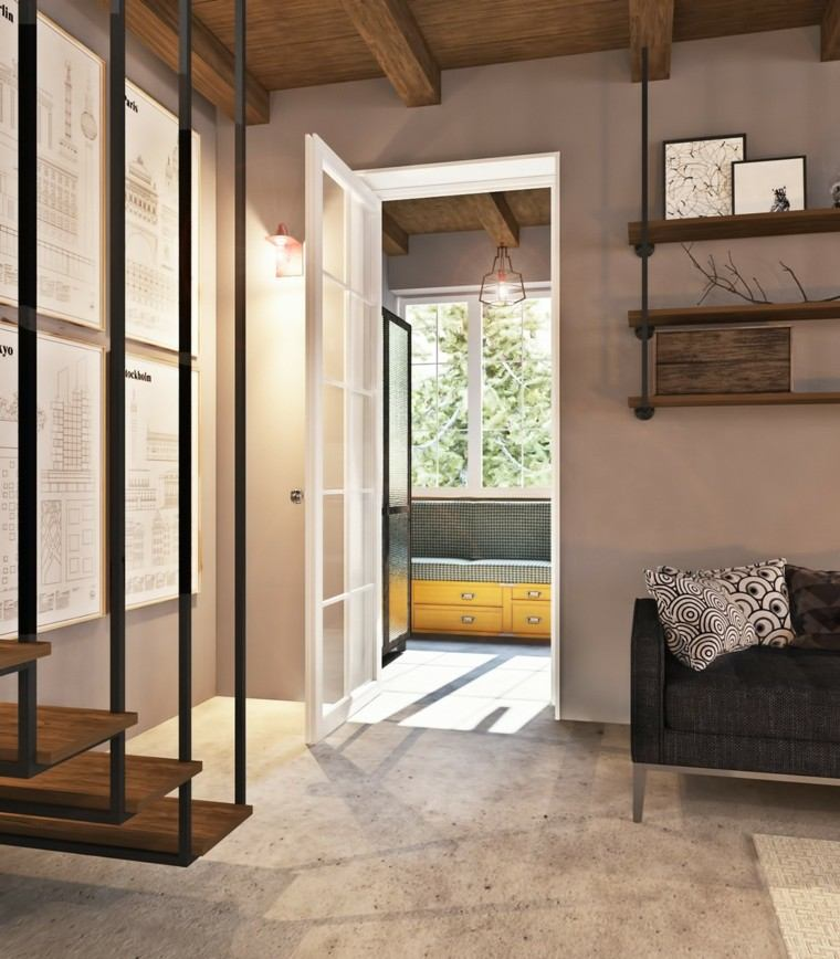 escaleras colgantes mueble amarillo puerta