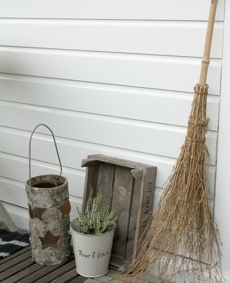 broom straw bucket flowers wood